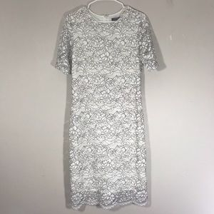 Sharagano white lace floral print fitted dress 8